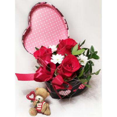 Rózsadoboz - Ajándék macival