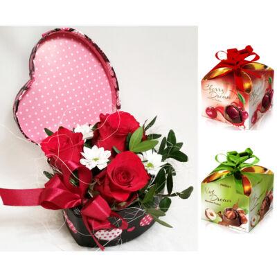 Rózsadoboz - Ajándék bonbonnal