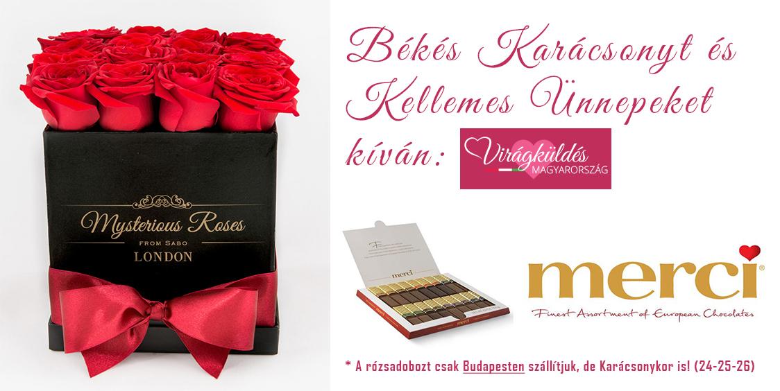 V16 szálas Mysterious Rózsadoboz (S) - Ajándék Merci desszerttel - 24.900 Ft