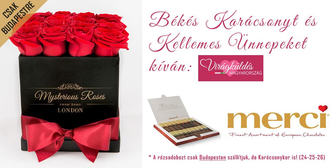 16 szálas Mysterious Rózsadoboz - Ajándék Merci desszerttel - 18.500 Ft (7% kedvezménnyel)